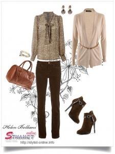кардиган + брюки + блуза
